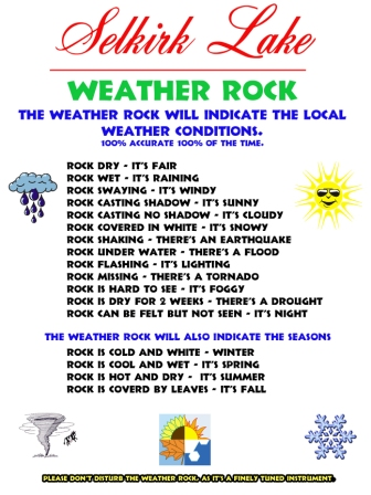 Selkirk lake Weather Rock sign
