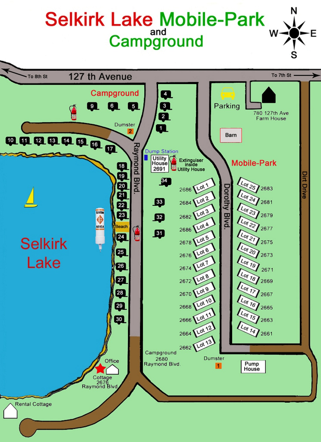Selkirk Lake facility map.